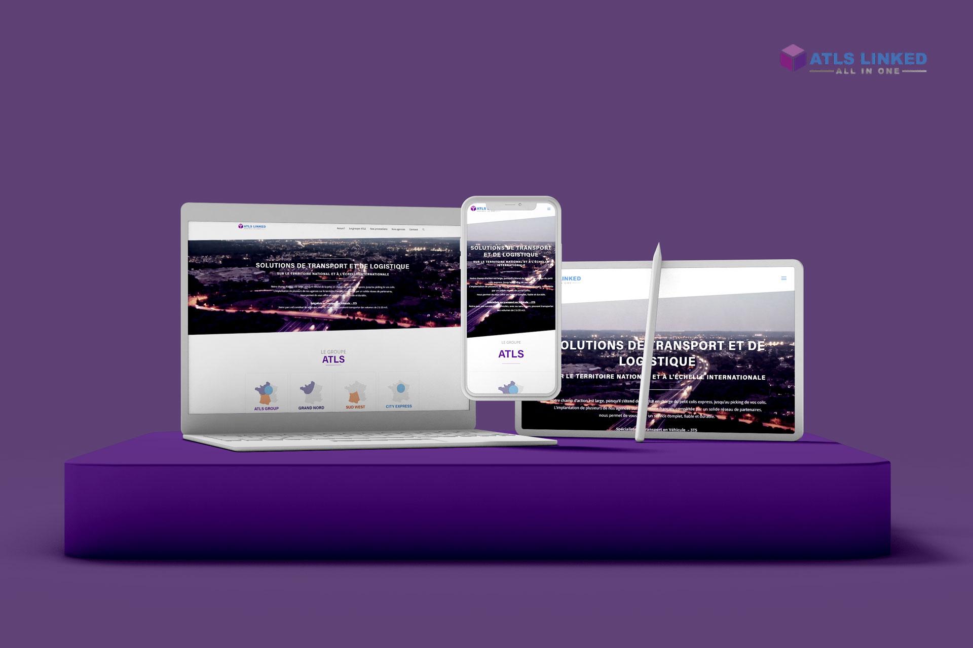 mockup ATLS, transport et logistique, client d'i-media, agence de communication digitale à Rouen