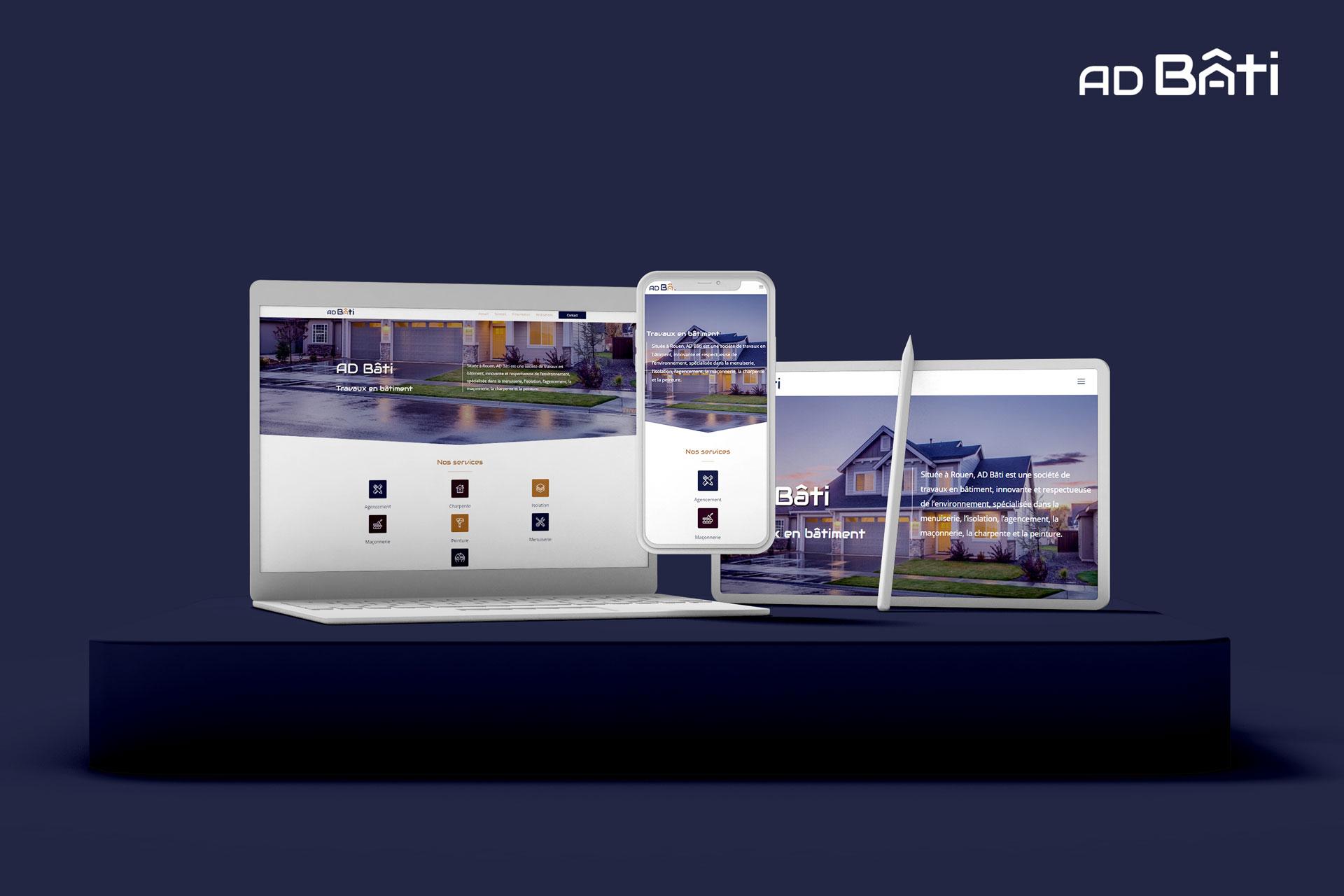 mockup ad bâti, travaux en bâtiment à Rouen, client d'i-media, agence de communication digitale
