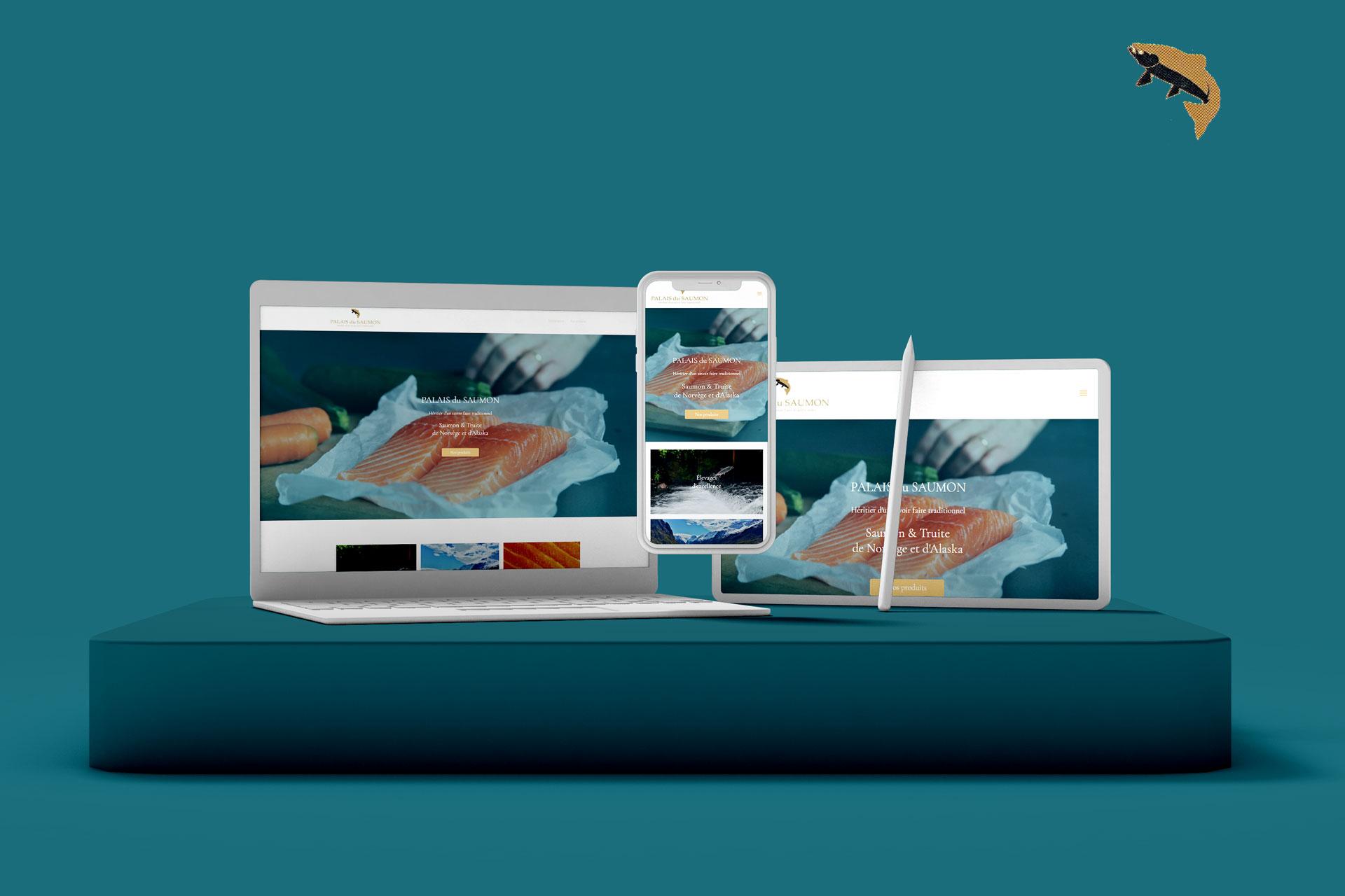 mockup palais du saumon, catalogue de produits de la mer, client d'i-media, agence de communication digitale à Rouen