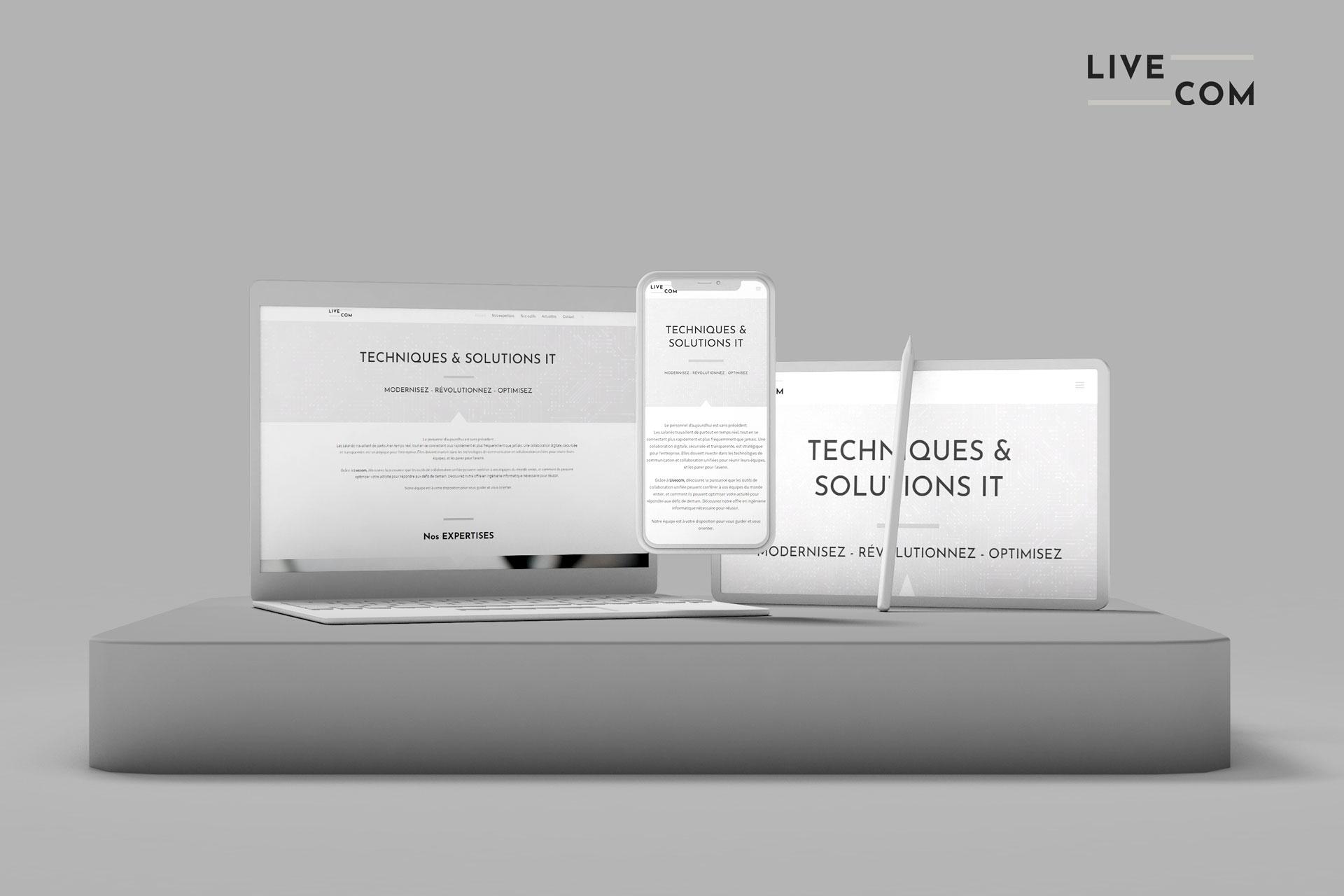mockup livecom, technologies IT, client d'i-media, agence de communication digitale à Rouen