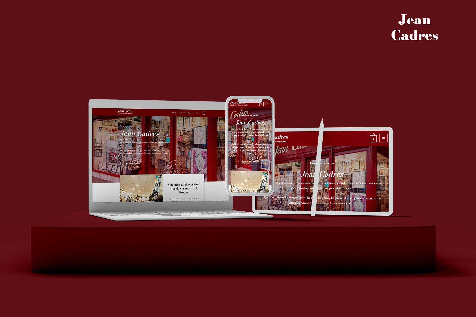mockup du site Jean Cadres, spécialiste en décoration murale à Rouen, client d'I-Media, agence de communication digitale