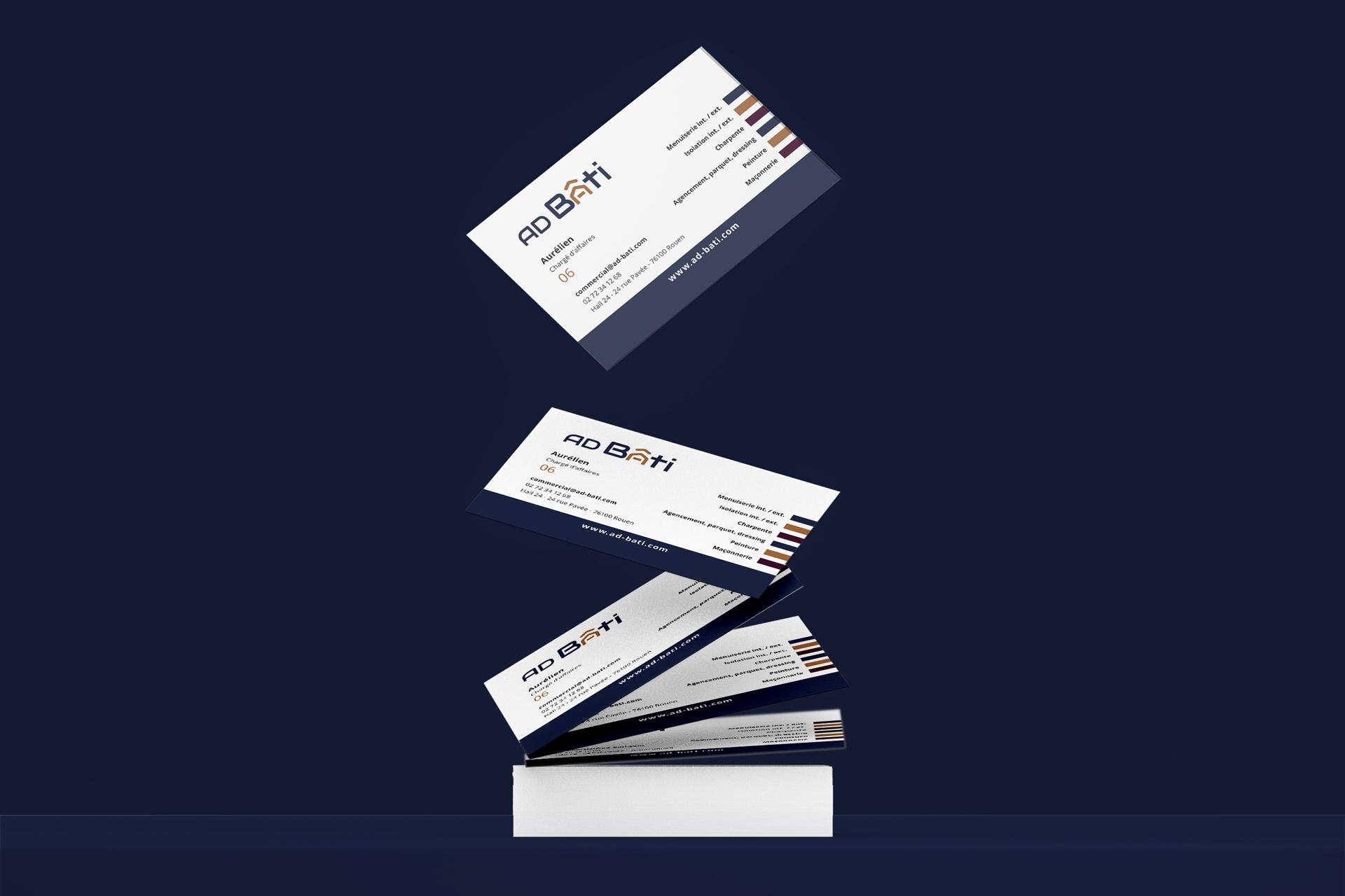 mockup carte de visite ad bati rouen client i-media agence de communication digitale