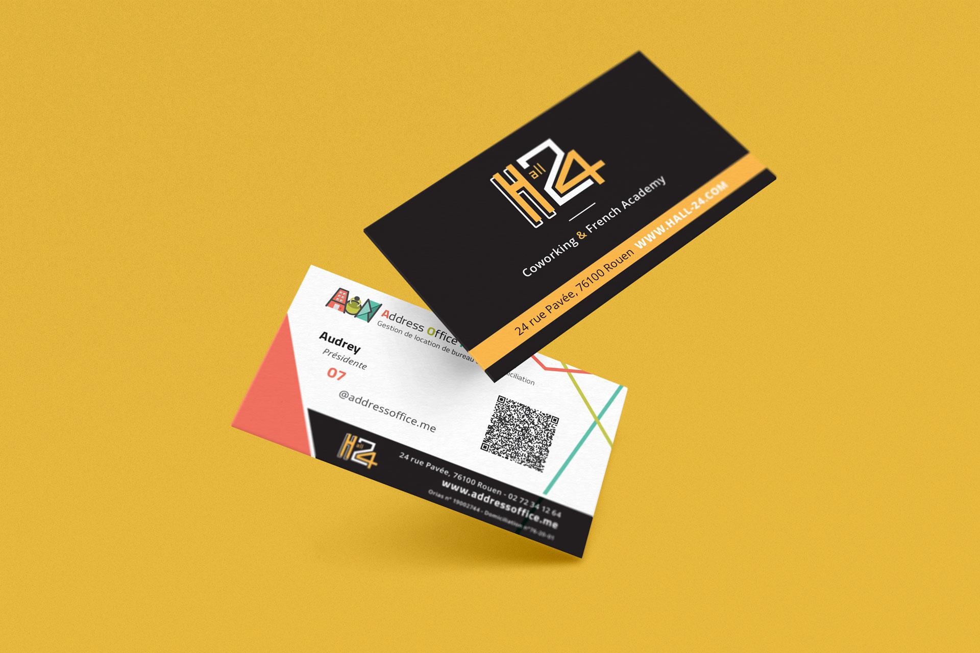 mockup carte de visite aon et hall 24 rouen client i-media agence de communication digitale