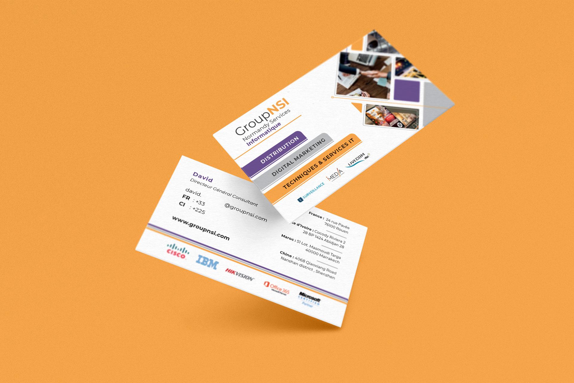 mockup carte de visite group nsi rouen client i-media agence de communication digitale