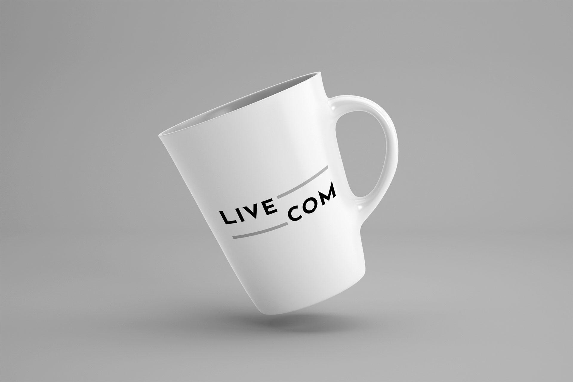 mockup logo livecom rouen client i-media agence de communication digitale